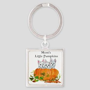 Westie Pumpkin Puppy Square Keychain