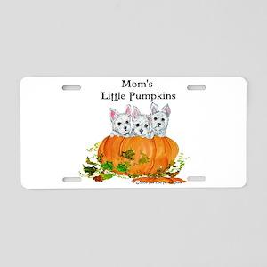 Westie Pumpkin Puppy Aluminum License Plate