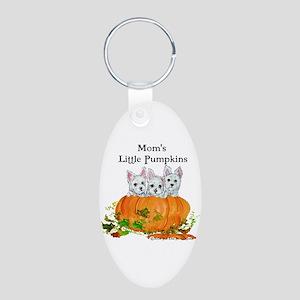 Westie Pumpkin Puppy Aluminum Oval Keychain
