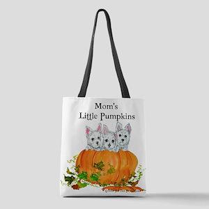 Westie Pumpkin Puppy Polyester Tote Bag