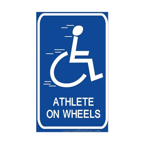 'Athlete on Wheels' Rectangle Sticker