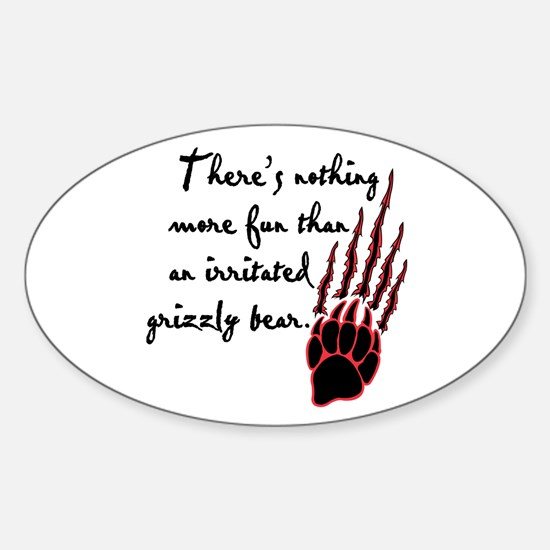 Twilight Irritated Grizzly Bear Oval Decal