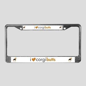 I Heart Corgi Butts - RHT License Plate Frame
