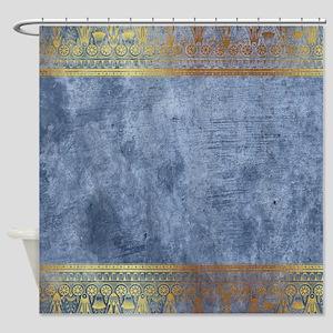Blue Golden Egypt Shower Curtain