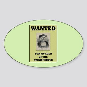 Columbus a Murderer Oval Sticker
