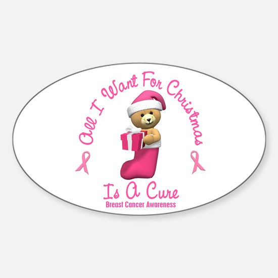 Bear In Stocking 2 (Breast Cancer) Oval Decal