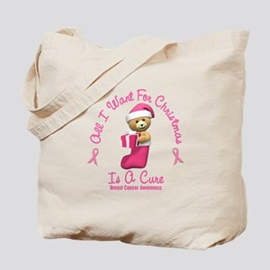Bear In Stocking 2 (Breast Cancer) Tote Bag