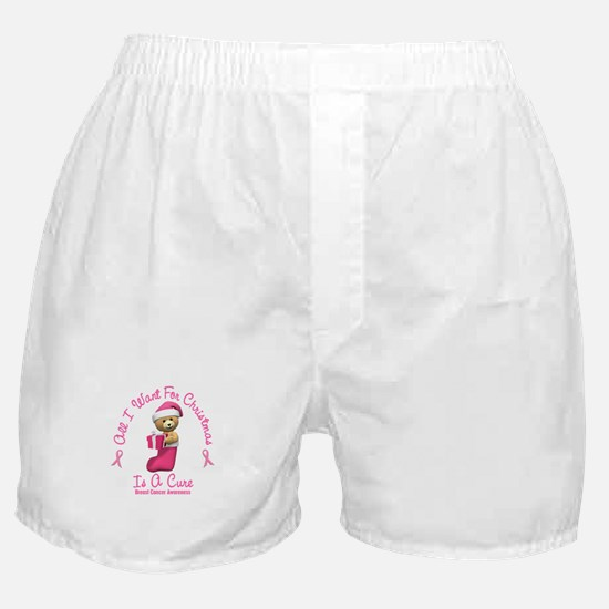 Bear In Stocking 2 (Breast Cancer) Boxer Shorts