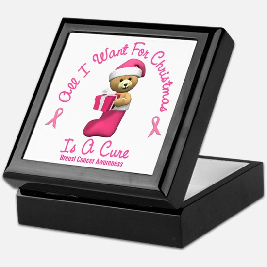 Bear In Stocking 2 (Breast Cancer) Keepsake Box