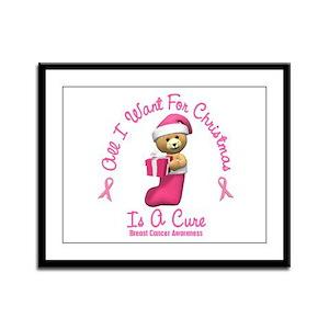 Bear In Stocking 2 (Breast Cancer) Framed Panel Pr