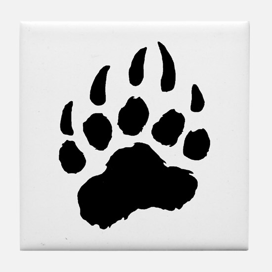 BLACK Bear Paw Tile Coaster