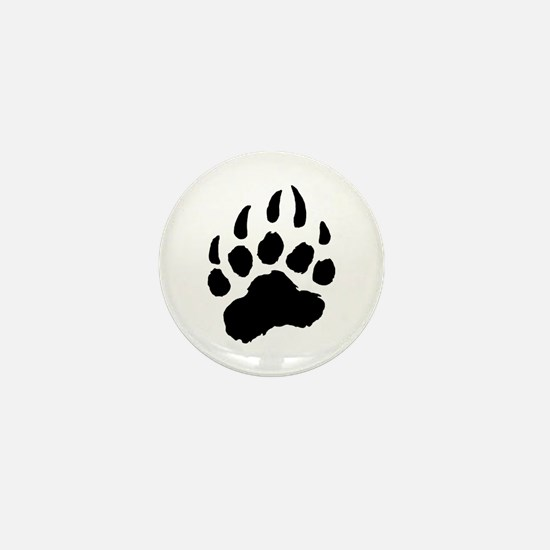 BLACK Bear Paw Mini Button (10 pack)