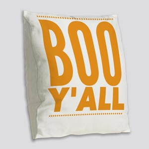 Boo Y'all Funny Halloween Burlap Throw Pillow