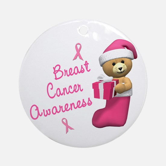 Bear In Stocking 3 (Breast Cancer) Ornament (Round
