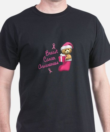 Bear In Stocking 3 (Breast Cancer) T-Shirt