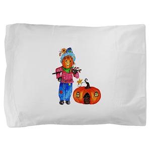 Scarecrow Guarding Pumpkin Pillow Sham