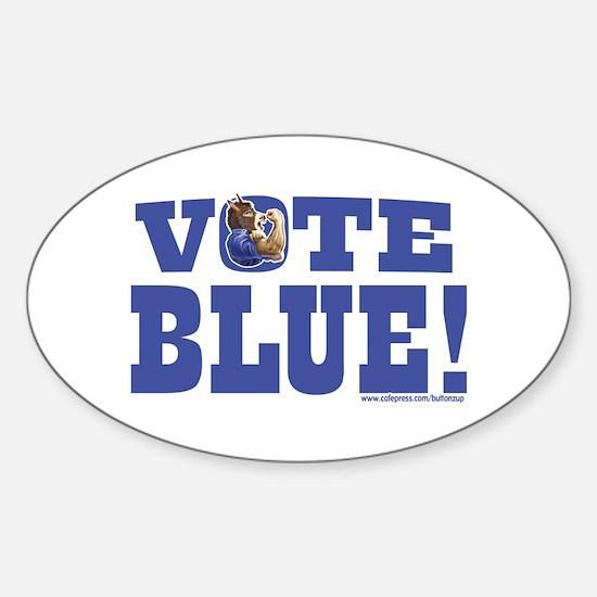 Vote Blue Dem Donkey Oval Decal