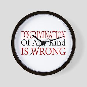 Discrimination Is Wrong Wall Clock