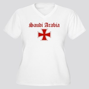 Saudi Arabia (iron cross) Women's Plus Size V-Neck
