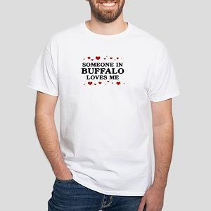 Loves Me in Buffalo White T-Shirt