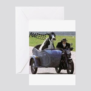 Cow in Sidecar Greeting Card