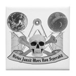 Masonic virtue in black and white Tile Coaster