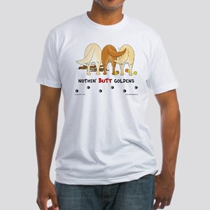 Golden Butts with Sticks/Balls Fitted T-Shirt