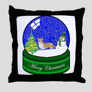 Snow Globe Welsh Corgi Throw Pillow
