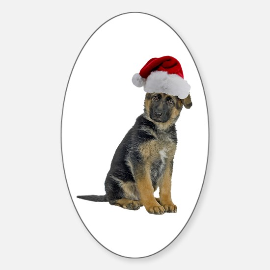 German Shepherd Xmas Oval Decal