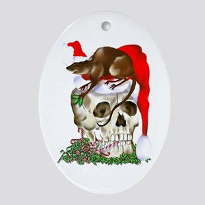 Christmas Skull and Happy Rat Oval Ornament