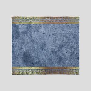 Blue Golden Egypt Throw Blanket