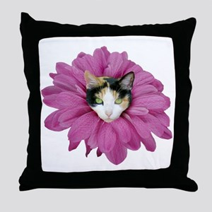 Calico Cat Flower Throw Pillow