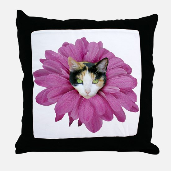 Calico Cat Flower Throw Pillow