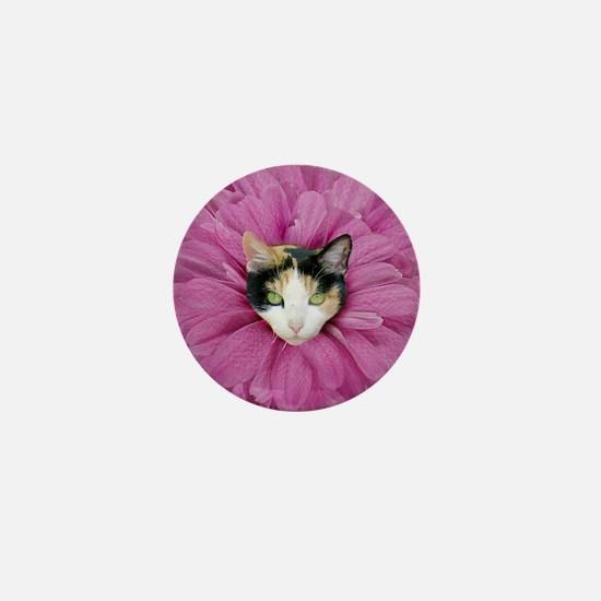 Calico Cat Flowers Mini Button