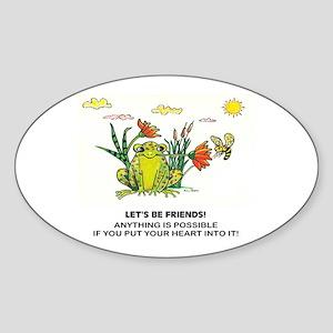 Frog Fun Oval Sticker
