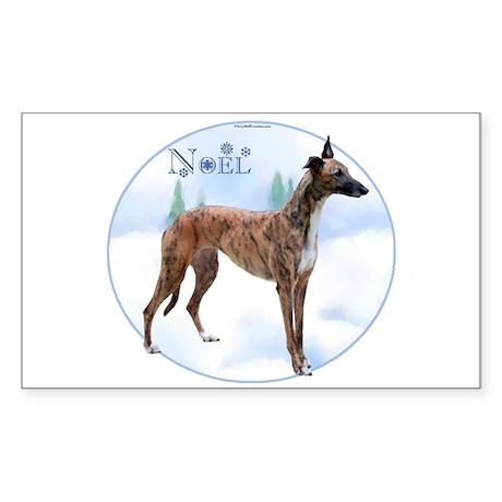 Greyhound Noel Rectangle Sticker