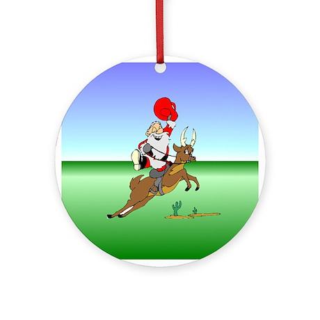 Cowboy Santa Ornament (Round)