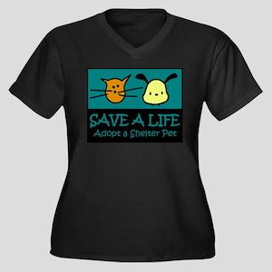Save A Life Adopt a Pet Women's Plus Size V-Neck D