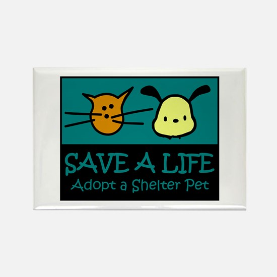 Save A Life Adopt a Pet Rectangle Magnet