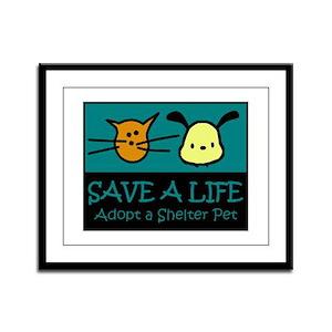 Save A Life Adopt a Pet Framed Panel Print