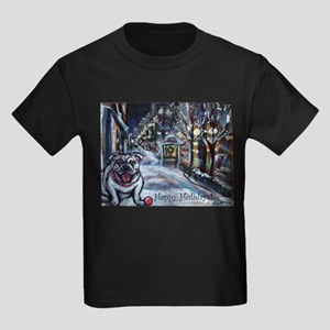 English Bulldog holiday Kids Dark T-Shirt