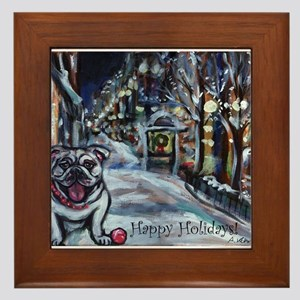 English Bulldog holiday Framed Tile