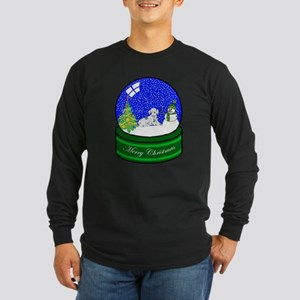 Snow Globe Dalmatian Long Sleeve Dark T-Shirt