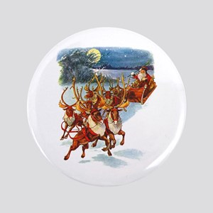 "SANTA & HIS REINDEER 3.5"" Button"