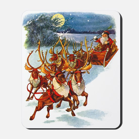 SANTA & HIS REINDEER Mousepad