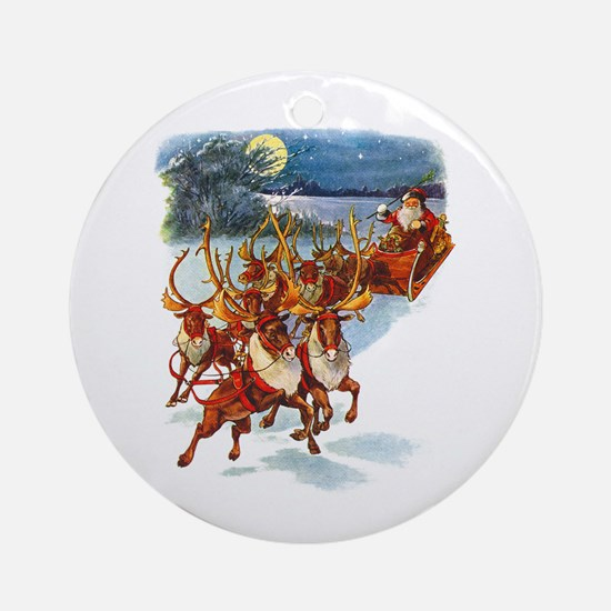 SANTA & HIS REINDEER Ornament (Round)