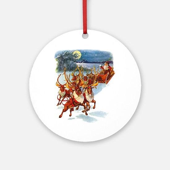 SANTA & HIS REINDEER Ornament (Round)