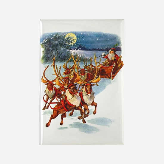 SANTA & HIS REINDEER Rectangle Magnet