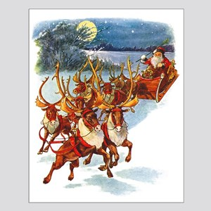 SANTA & HIS REINDEER Small Poster