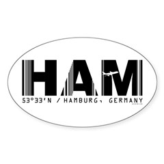 Hamburg Airport Code Germany HAM Oval Decal